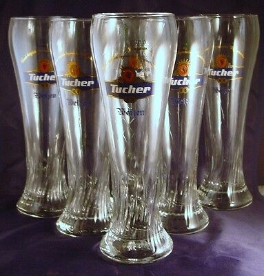 Commercial Bar Glass TUCHER WEIZEN CRAFT Beer .3L 10oz Fluted GERMAN SET OF 6
