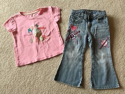 Baby Gap Girl's Outfit ~ Pink Cupcake Shirt & Embroidered Jeans Size 2 argyle