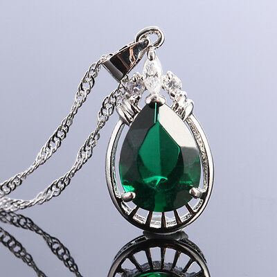 Lady Fashion Jewelry Pear Cut Green Emerald Silver Tone Pendant Necklace New