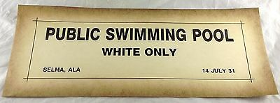 Public Swimming Pool White Only Selma Alabama Al Black Americana Paper Sign