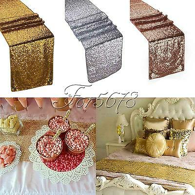 """Gold Silver Tone Champagne Sequin Table Runner 12""""x108"""" Sparkly Wedding Decor"""