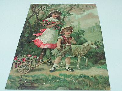 Front Of A Victorian Embossed Card Little Girl And Boy With Cart And Lamb