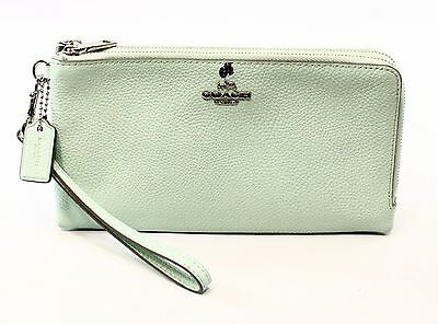 Coach NEW Blue Green Seaglass Clutch Leather Double Zip Wallet $135- #021