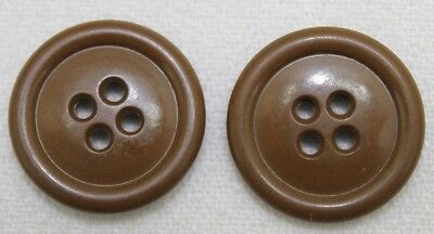 WWII US Olive drab Butterscotch M43 Buttons 7/8 inch 22mm lot of 2 E7367