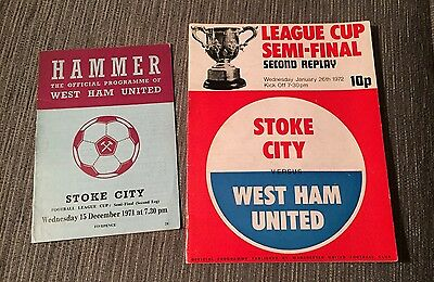WEST HAM V Stoke League Cup Semi Final 2nd Leg And Second Replay 1972
