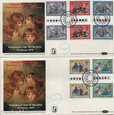 "1979 ""Christmas"" T/L Gutter pairs on Benham First Day Covers"