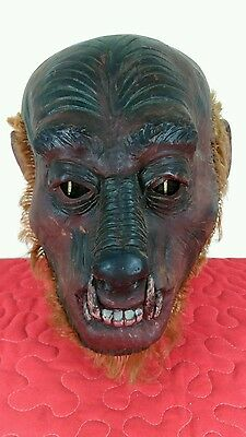 Vintage 1979 Creepy Wolfman Indigenous Man Rubber Mask W/ Hair Signed Cjc