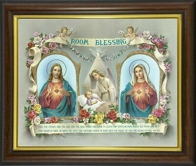 Room House Blessing Sacred Heart Jesus Framed Picture Statues Candles Listed M10