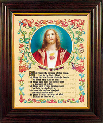 Sacred Heart House Blessing Framed Picture Religious Statues And Candles Listed