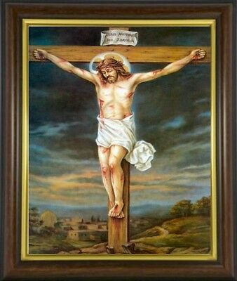 Crucifixion Jesus On The Cross Framed Picture Statues & Candles Also Listed M10
