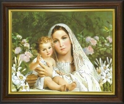 Madonna And Baby Jesus Virgin Mary Framed Picture - Statues & Candles Listed M10