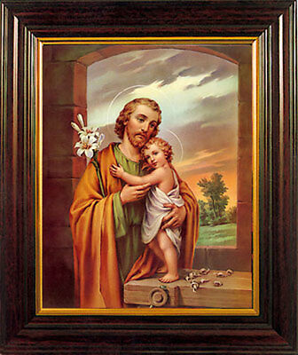 SAINT JOSEPH FRAMED PICTURE - 100's OF RELIGIOUS STATUES AND CANDLES LISTED