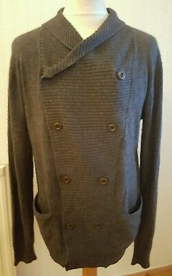 "All Saints Charcoal ""Damage"" Cashmere wool  Blend Cardigan size M MENS VGC"