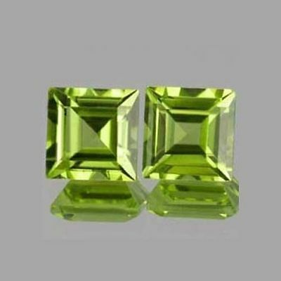 A PAIR OF 4mm SQUARE-FACET STRONG-GREEN NATURAL AFGHAN PERIDOT GEMSTONES