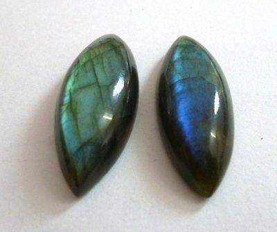 A PAIR OF 12x6mm MARQUISE-CABOCHON NATURAL AFRICAN LABRADORITE GEMSTONES £1 NR