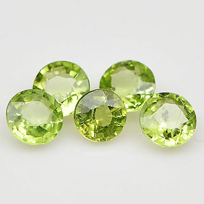 5 PIECES OF 3mm ROUND-FACET STRONG-GREEN NATURAL AFGHAN PERIDOT GEMS £1 NR!
