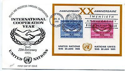 UN 1965 International Cooperation Year M/S First day cover (New York cancel)