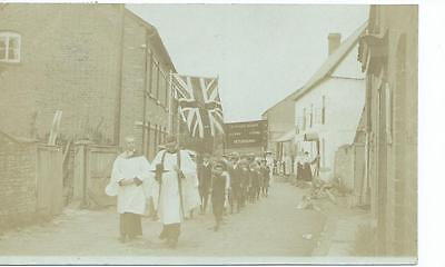 Herefordshire  RP postcard of St Peter's School  procession in  Peterchurch 1907
