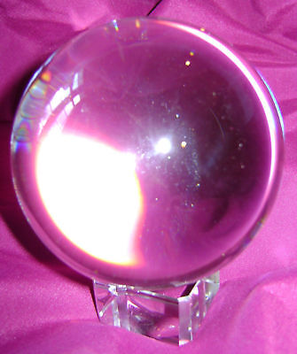 New Gorgeous Huge 80Mm Clear Colourless Glass Marble Ball Sphere On Stand Hom