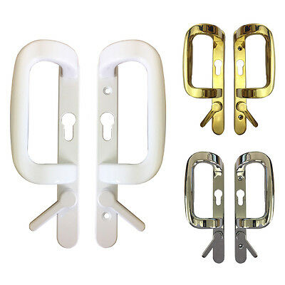 90PZ Fuhr Sliding Patio Door Handles Inline Lock UPVC White Chrome Gold Sparta