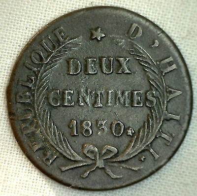 1830 Haiti 2 Centimes Copper World Coin Extra Fine 2 Cents AN 27 XF