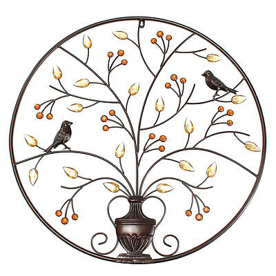 Magpie on the Black Tree Wall Art Hanging Metal Iron Sculpture Garden 24.4inch