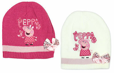 Girls Peppa Pig Bow Beanie Knit Hat Winter Cap 3 to 12 Years CLEARANCE SALE