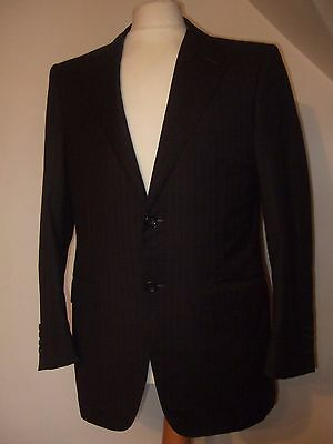 Mens Canali Exclusive Super 150S Dark Grey Pinstripe Single Breasted Suit 38