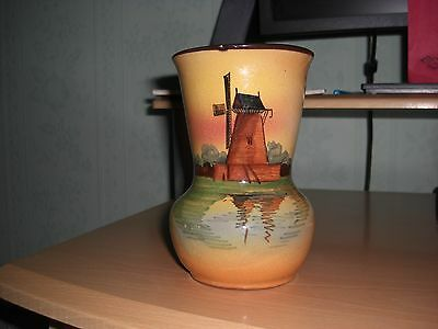 A Superb Windmill Pattern Torquay Ware Vase