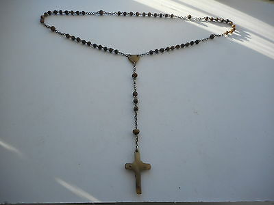 Vintage Or  Antique Steel Chain & Horn Bead & Cross  Rosary