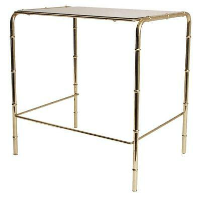 Vintage GOLD TABLE Faux Bamboo MIRROR TOP Hollywood Regency plant stand vanity