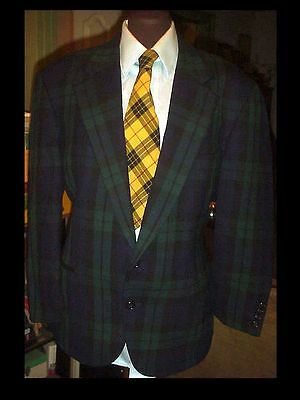 Mens 44 Vintage 70's GREEN PLAID Checked Suit Jacket BLAZER SPORTCOAT USA