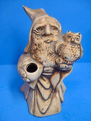 Unusual Artist Signed WIZARD and OWL Stained Clay Incense Burner / Holder