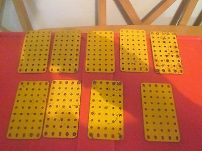 Vintage YELLOW MECCANO (Lot of NINE) FLAT PLATES Part Number 70 (USED CONDITION)