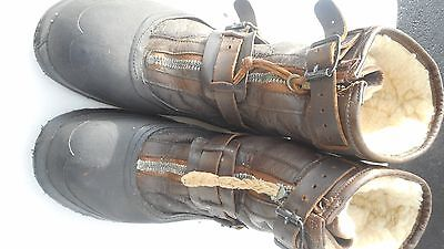 WW2 Original FlyingType A-6A Sheep Skin Lined Boots MFG Bristolite Size EX Large
