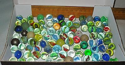 Mixed Lot 90+ Vintage Glass / Clay / Opaque Marbles