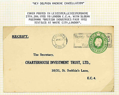 1932 stationery envelope with British Industries Fair Hey Dolphin machine cancel