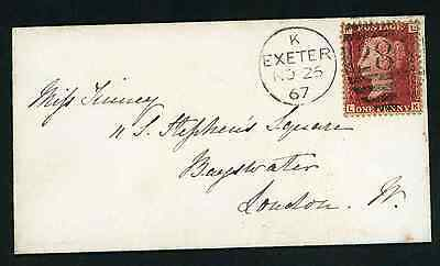 1867 neat envelope from Exeter to London with 1d plate 78 LK