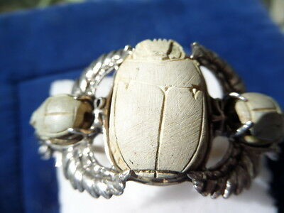 Vintage sterling unusual cuff bracelet adorned with whitish stones