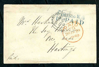 1849 stampless envelope from Plimlico to Hastings Sussex