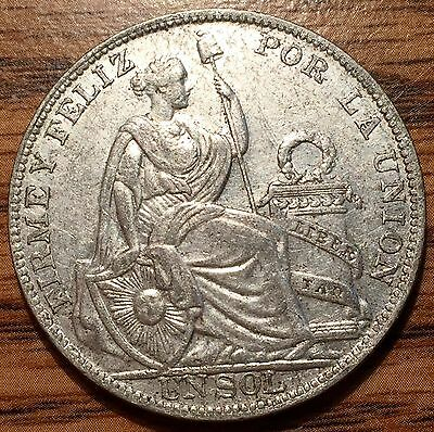 1931 Silver Peru Un Sol Seated Liberty Coin - About Uncirculated