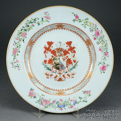 Chinese Export Porcelain Armorial Plate, Coat of Arms, Yongzheng Period, 18th C.