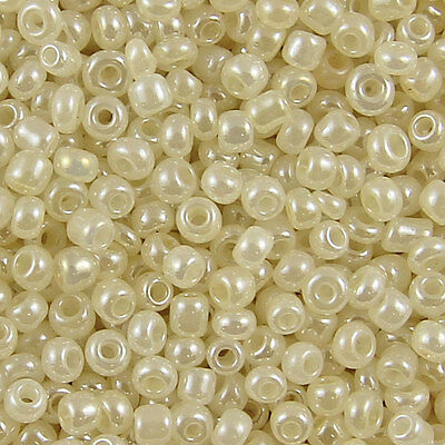1KG Ivory Cream Pearl Ceylon Round Glass Seed Beads Size 8/0 3mm