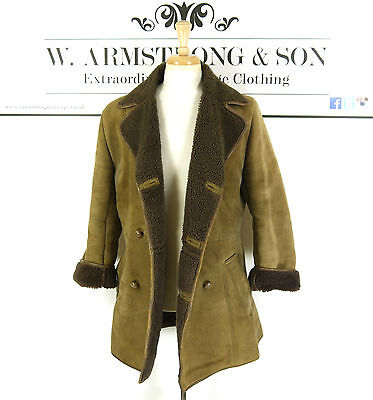Men's Brown REAL SHEEPSKIN LEATHER Shearling 70s MOD BOHO Indie Long Coat UK S