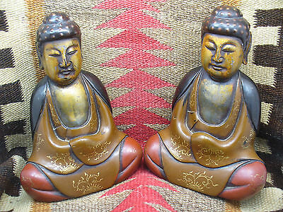 Beautifully Carved Antique Chinese Export Lacquer Buddha Book Ends