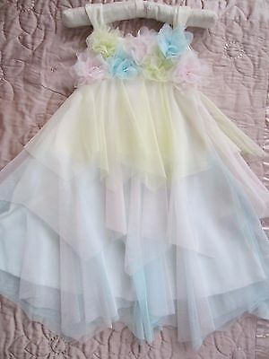 Blue Multi Flower Girl Bridesmaid Party Occasion Dress UNBRANDED 3-4 WORNONCE