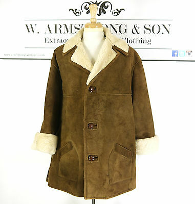 Men's Brown REAL SHEEPSKIN LEATHER Shearling 70s MOD Indie Chunky BOHO Coat XL
