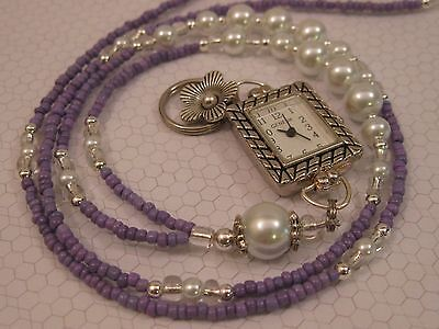 Lanyard Amethyst Pearl Beaded Necklace Handmade Id Badge Holder With Watch