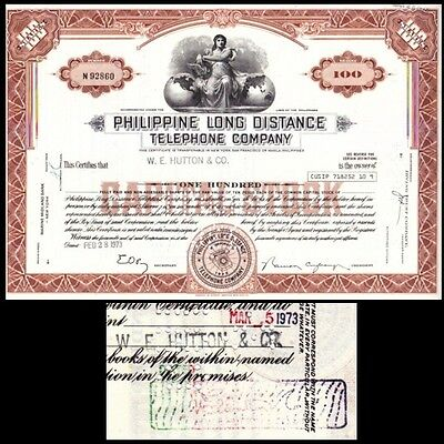 Broker Owned Stock Certificate:  W.E. Hutton, payee; Philippine LD Tel, issuer