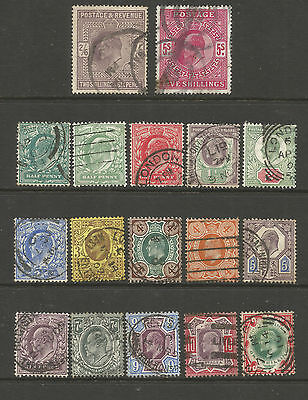 "Gb  Edvii Between Sg215 To 314   ""set Of 15 To 1/- "" + 2/6D +5/-  Fine  Used"